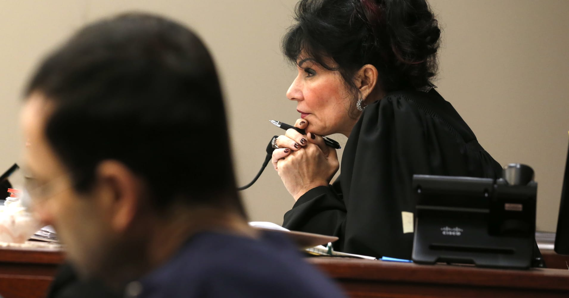 Judge Rosemarie Aquilina watches as Former Michigan State University and USA Gymnastics doctor Larry Nassar listens to impact statements during the sentencing phase in Ingham County Circuit Court on January 24, 2018 in Lansing, Michigan. JEFF KOWALSKY/AFP/Getty Images