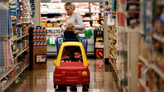 A shopper in an Albertsons in Fullerton, California.