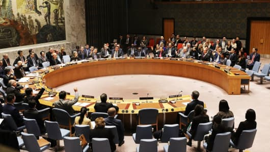Members of the United Nations Security Council vote to impose new sanctions on North Korea on December 22, 2017.