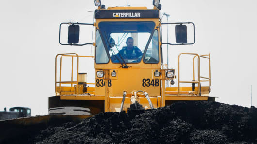 A Caterpillar 834B dozer moves coal at the Savage Industries processing facility in Price, Utah.
