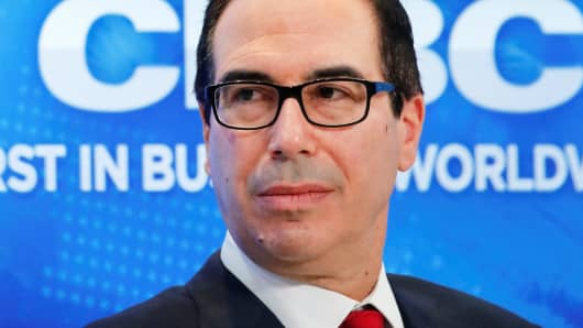 Steven Mnuchin, U.S. Secretary of the Treasury, attends the World Economic Forum (WEF) annual meeting in Davos, Switzerland January 25, 2018.