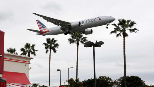 An American Airlines plane prepares to land at Los Angeles International Airport.