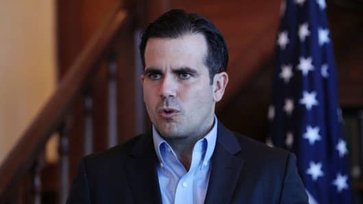 Puerto Rico Governor Ricardo Rossello speaks during a Facebook live broadcast in the library of the governor's mansion, in San Juan, Puerto Rico January 24, 2018.