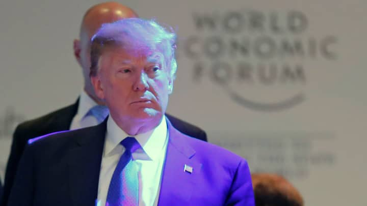 President Donald Trump arrives for a reception during the World Economic Forum (WEF) annual meeting in Davos, Switzerland January 25, 2018.