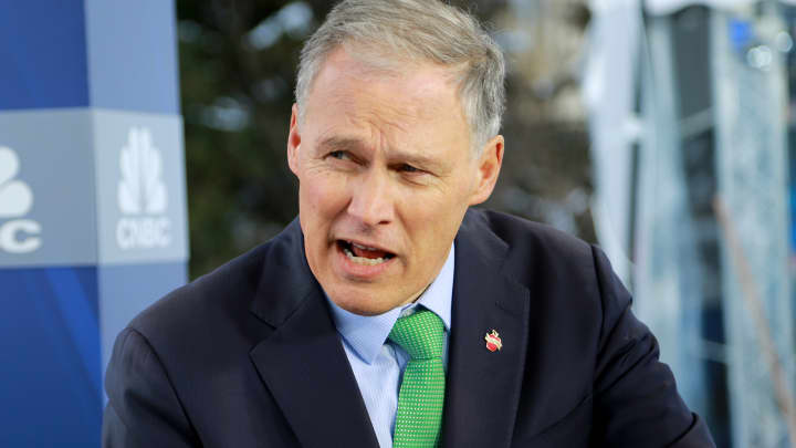 Gov. Jay Inslee, Governor of Washington, at the 2018 WEF in Davos, Switzerland.
