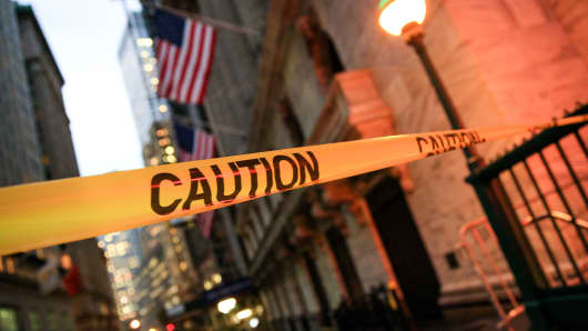 Caution tape outside the New York Stock Exchange in New York on Jan. 23, 2018.