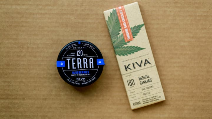 Kiva Confections medicated blueberries and chocolate bar