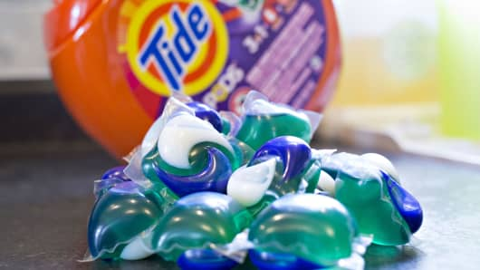 Procter & Gamble Co. Tide Pods brand laundry detergent.