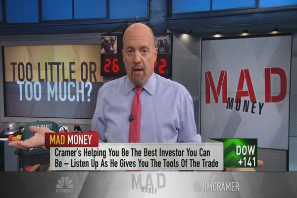 Cramer says owning too many stocks and too little cash can set you up for failure