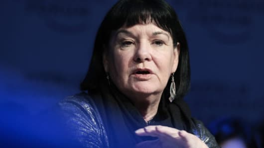 Sharan Burrow, general secretary of the International Trade Union Confederation (ITUC), gestures as she speaks during a panel session on day three of the World Economic Forum (WEF) in Davos, Switzerland, on Thursday, Jan. 25, 2018.