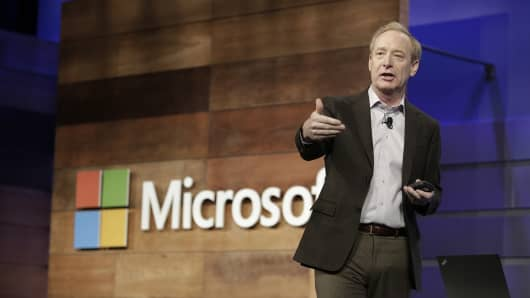 Microsoft President and Chief Legal Officer Brad Smith speaks during the annual Microsoft shareholders meeting in Bellevue, Washington on November 29, 2017.