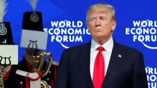 President Donald Trump is seen before his speech during the World Economic Forum (WEF) annual meeting in Davos, Switzerland January 26, 2018.