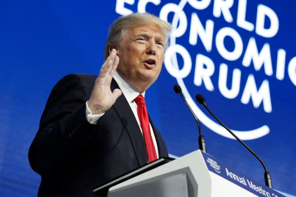President Donald Trump delivers a speech to the World Economic Forum, Friday, Jan. 26, 2018, in Davos.