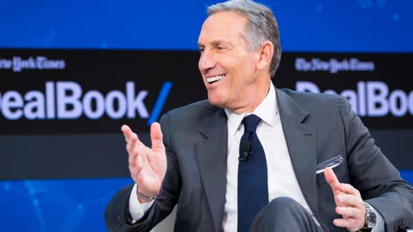 Howard Schultz speaks onstage at The New York Times 2017 DealBook Conference at Jazz at Lincoln Center on November 9, 2017 in New York City.