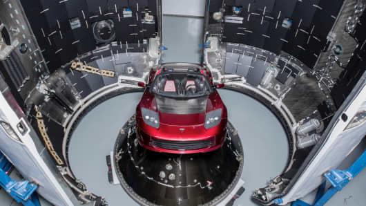 The test flight of SpaceX Falcon Heavy launched a Tesla Roadster as its payload into an elliptic Mars orbit.