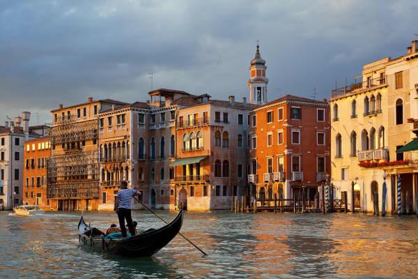 Venice, Gondola on Grand Canal, Italy.