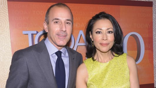 'TODAY' Show correspondents Matt Lauer and Ann Curry attend the 'TODAY' Show 60th anniversary celebration at The Edison Ballroom on January 12, 2012 in New York City.