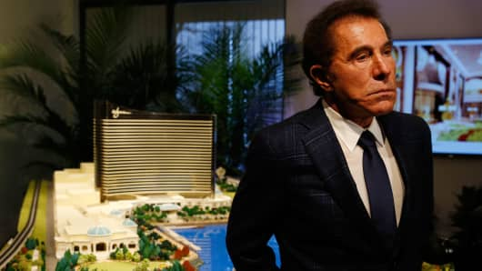 Steve Wynn speaks to reporters about a planned casino in Everett during a press conference in Medford, Mass., on March 15, 2016.