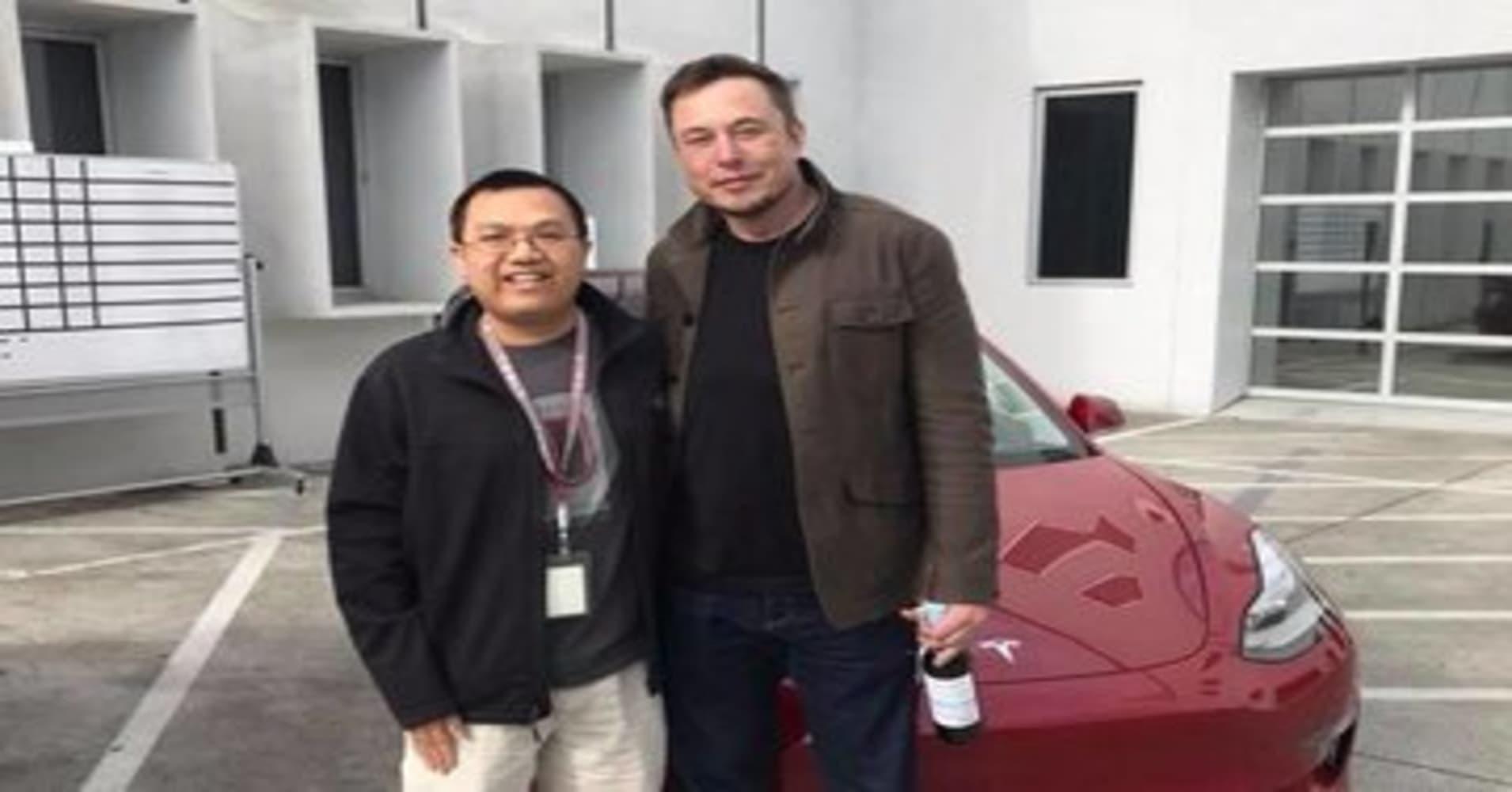 Matthew Chan with Elon Musk