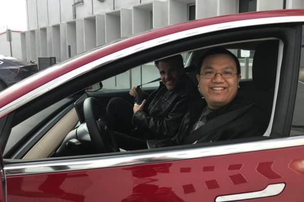 Matthew Chan going for a drive with Franz von Holzhausen
