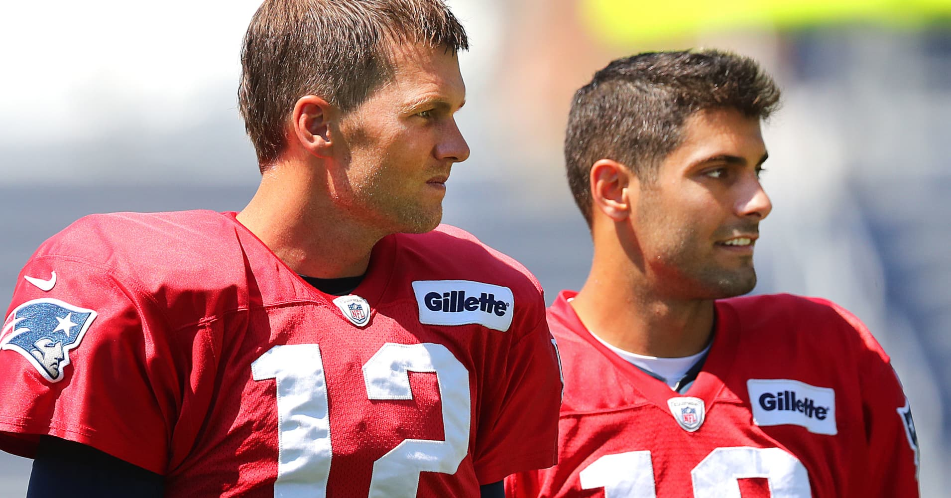 New England Patriots quarterback Tom Brady and his former backup Jimmy Garoppolo