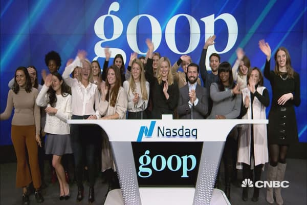 Executives from Gwyneth Paltrow's company Goop ring the closing bell at the Nasdaq MarketSite