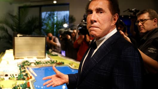 Steve Wynn shows off the plans for a planned casino during a press conference on March 15, 2016.