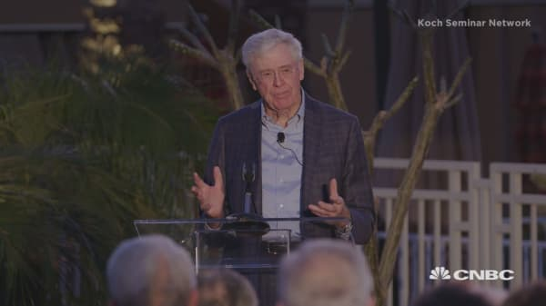 Watch Charles Koch's opening remarks at his private donor retreat in Palm Springs