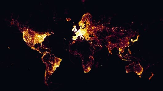 A screenshot of the Strava heat map, which the company said comprised one billion recorded activities on its platform.
