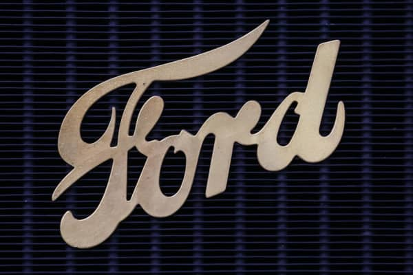 Ford emblem seen at the Oldtimer Warsaw Show in Poland on May 13, 2017.