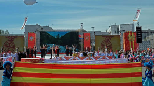 Dancers perform during a parade in Bishkek, the capital of Kyrgyzstan.