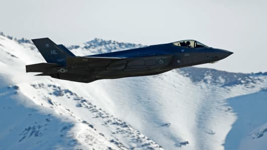 A F-35 fighter jet take-offs for a training mission at Hill Air Force Base on March 15, 2017 in Ogden, Utah.