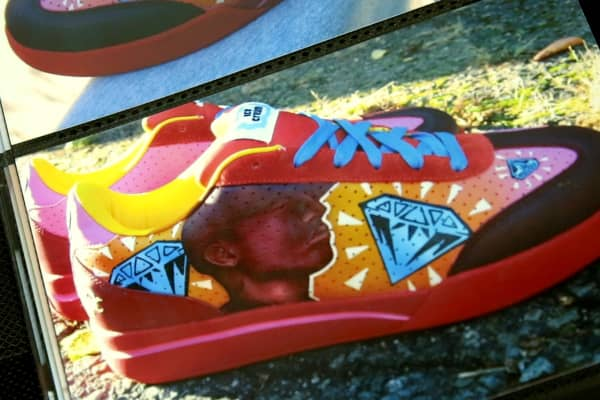 The Reebok Ice Cream Board Flips Gamache painted featured a portrait of Pharrell. The shoe he chose was a collaboration between Reebok and the singer.