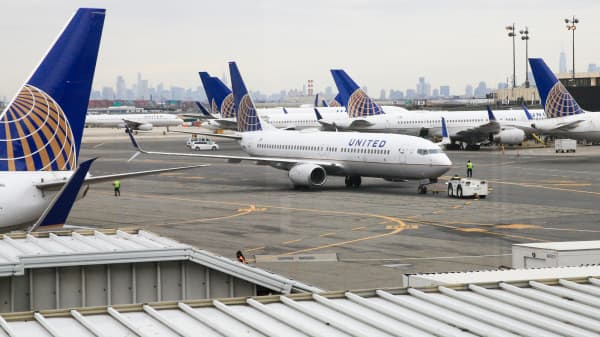 United Airlines planes at Terminal C at Newark International Airport.