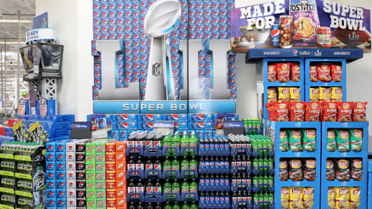 Pepsi products on display for the Super Bowl.
