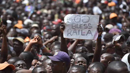 Supporters attend the 'people's president' swearing-in ceremony of Kenya's opposition leader Raila Odinga on January 30, 2018, in Nairobi.