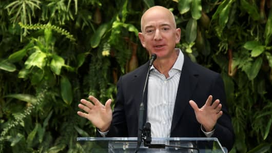 Amazon founder and CEO Jeff Bezos speaks at the new Amazon Spheres opening event at Amazon's Seattle headquarters in Seattle, Washington, U.S., January 29, 2018.