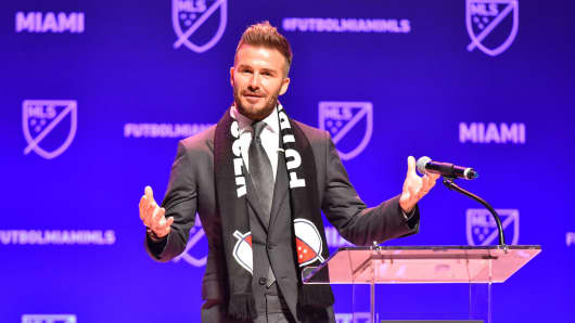 David Beckham addresses the crowd during the press conference announcing an MLS franchise in Miami at the Knight Concert Hall on January 29, 2018 in Miami, Florida.