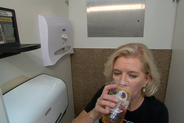 CNBC special correspondent Jane Wells trying out the LavCup