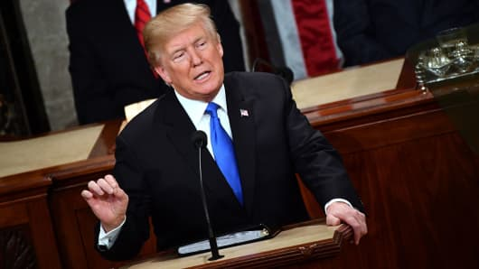 President Donald Trump delivers the State of the Union address at the US Capitol in Washington, DC, on January 30, 2018.
