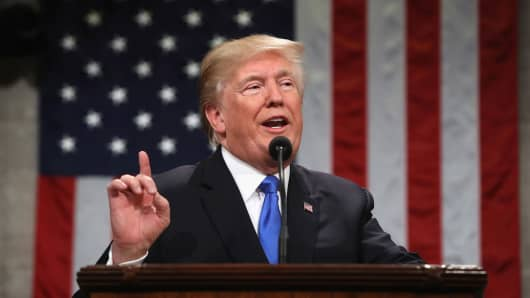 President Donald J. Trump delivers the State of the Union address in the chamber of the U.S. House of Representatives January 30, 2018 in Washington, DC.