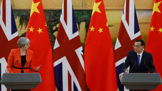 British Prime Minister Theresa May speaks during a joint press conference with Chinese Premier Li Keqiang at the Great Hall of the People on January 31, 2018 in Beijing, China.