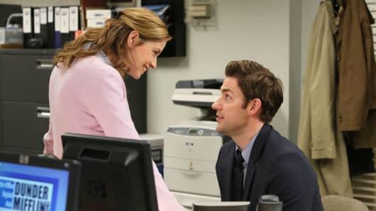 """Jenna Fischer as Pam Beesly Halpert and John Krasinski as Jim Halpert in """"The Office."""""""