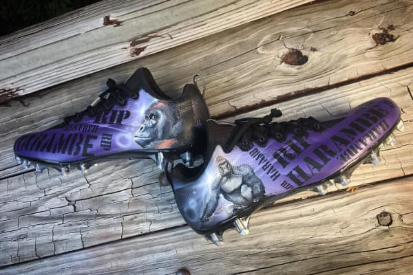Painting more intricate portraits, like the ones on these Harambe-inspired cleats he did for Vikings running back Jerick McKinnon, takes more time and commands a higher price point. Multiple portraits on a shoe can push a price tag up to $2500.