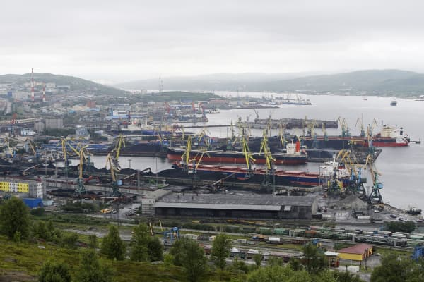 The city of Murmansk, the Barents Sea port in the Arctic Circle, Russia, August 3, 2017.