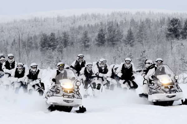Russia's reconnaissance unit members of the Northern Fleet's Arctic mechanized infantry brigade hold military exercises near the Lovozero settlement.