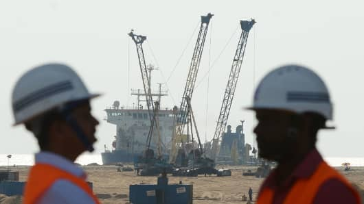 Sri Lanka, January 2 2018: A Chinese-funded $1.4 billion land reclamation project next to Colombo's main sea port