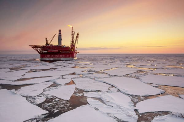 The Prirazlomnaya offshore ice-resistant oil-producing platform is seen at Pechora Sea, Russia.