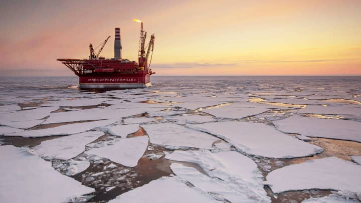 The Prirazlomnaya offshore ice-resistant oil-producing platform is seen at Pechora Sea, Russia.