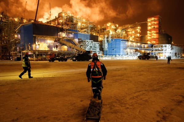 The Yamal LNG plant in the port of Sabetta on the Kara Sea shoreline on the Yamal Peninsula in the Arctic circle, some 2500 km of Moscow.